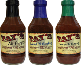 Bottle of Tay's All Purpose, Sweet 'N Smokey, and Sweet 'N Sassy Southern BBQ Sauces