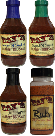 Bottles of Tay's All Purpose, Sweet 'N Smokey, Sweet 'N Sassy Southern, and Grub Rub